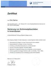 Schimmel-Zertifikat D. Dehne