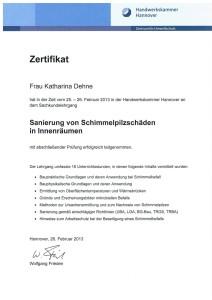 Schimmel-Zertifikat K.Dehne